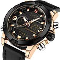 tonnier Band Analog Digital LED dual time Display Reloj para hombre de piel, color negro y dorado