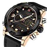 Tonnier Genuine Leather Band Analog Digital LED Dual Time Display Mens Watch, Black&Gold