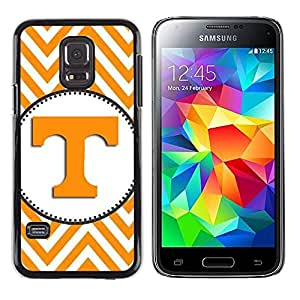 LECELL--Funda protectora / Cubierta / Piel For Samsung Galaxy S5 Mini, SM-G800, NOT S5 REGULAR! -- Letter Initial Chevron Yellow White --