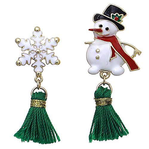 Mix&Match Red Green Candycane Santa Snowman etc Christmas Tassel Earrings w/ Gift Box (25284X-G)