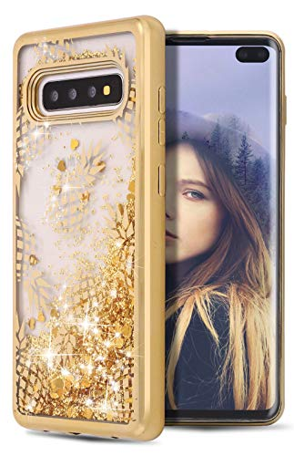 for Galaxy S10 Plus Case,WORLDMOM Flowing Bling Liquid Floating Sparkle Colorful Glitter Quicksand Waterfall TPU Protective Phone Case for Samsung Galaxy S10 Plus [6.4 Inch 2019],Pineapple/Gold