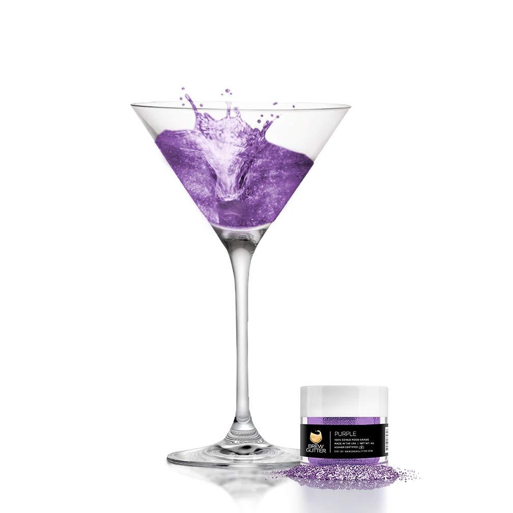 BREW GLITTER Edible Glitter For Drinks, Cocktails, Beer, Drink Garnish & Beverages | 4 Gram | KOSHER Certified | 100% Edible & Food Grade| Kosher Certified | Vegan, Gluten, Nut Free (Purple)
