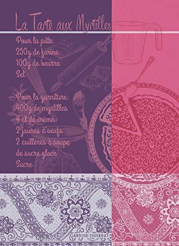Garnier-Thiebaut, Tartes aux Myrtilles, Violet (Blueberry Pie/Tart) Recipe French Jacquard Kitchen/Tea Towel, 100 Percent Cotton, All in French -