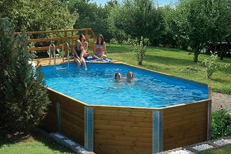Korfu - Piscina de madera maciza (dimensiones exteriores: 376 x 714 cm, capacidad de agua: 20,4 m3, filtro de arena)