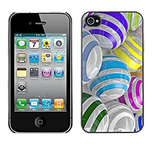 LASTONE PHONE CASE / Slim Protector Hard Shell Cover Case for Apple Iphone 4 / 4S / Colorful Glass Reflective Orb Abstract