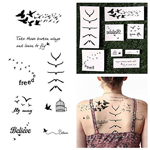 Tattify Assorted Bird Themed Temporary Tattoos - Fowl Play (Set of 16 Tattoos - 2 of each Style) - Individual Styles Available and Fashionable Temporary Tattoos -