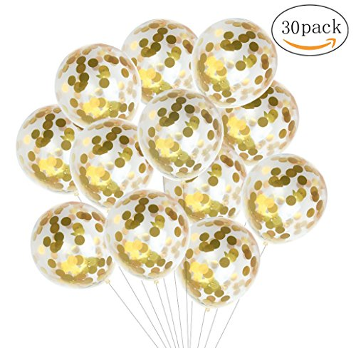 30 Pieces Gold Confetti Balloons - 12 Inches Party Balloons With Golden Paper Confetti Dots (Confetti Has Been Put Into The Balloons) For Party Decorations Wedding Decorations And Proposal (Shiny Confetti)