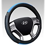 Leather Steering Wheel Cover Universal Fit Soft Breathable Steering Wheel Wrap Black&Blue