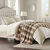 Madison Park Zuri Luxury Faux Fur Oversized Bed Throw Tan 6070 Premium Soft Cozy Brushed Faux Fur For Bed, Coach or Sofa