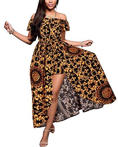 Yellow Dress Party Women's Maxi Romper Split Floral Black Off Rayon Shoulder BIUBIU w7qzPFz