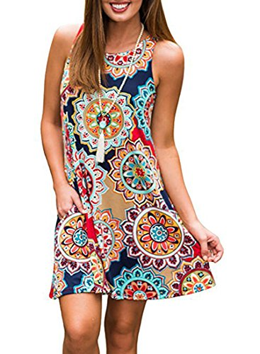 Sun Dresses For Women ,Tanst Cute Summer Sleeveless A Line Flowy Swing Knee Length Casual Loose Dress Geometric L