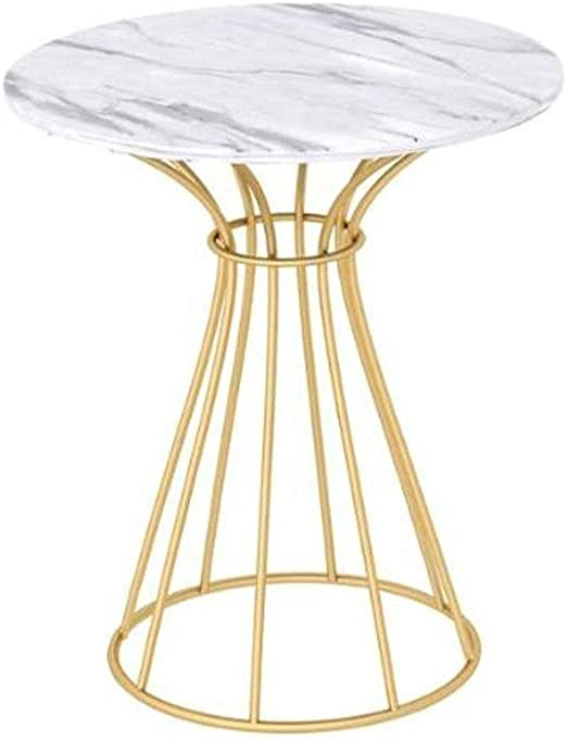 Zcyg Side Table Coffee Table Wrought Iron Marble Round End Tables