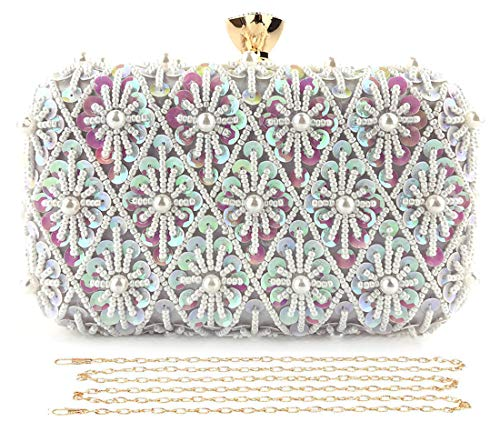 Selighting Sequin Beaded Clutch Evening Bags for Women Formal Bridal Wedding Clutch Purse Prom Cocktail Party Handbags (One Size, Colorful-White) ()