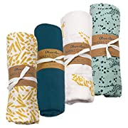 Oliver & Rain Baby Swaddle Sampler - 4-Pack Newborn 100% Organic Cotton Muslin Swaddle Blankets in Blue Coral, Blue & Gold Cheetah & Tiger