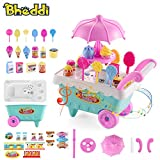 Bheddi Ice Cream Car Candy Cart with Music and Light Pretend Play Toy Kit Includes 16 Desserts Best Christmas / Birthday Gift for Boys and Girls