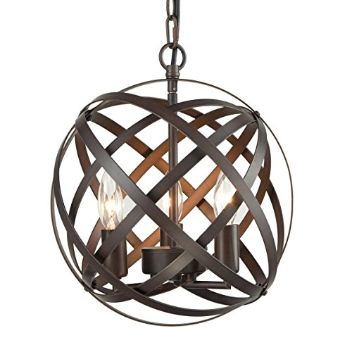 Dazhuan Antique 3-Lights Candle Style Chandeliers Metal Cage Globe Sphere Pendant Light Ceiling Hanging Lighting (Three Round Pendant Light Bronze)