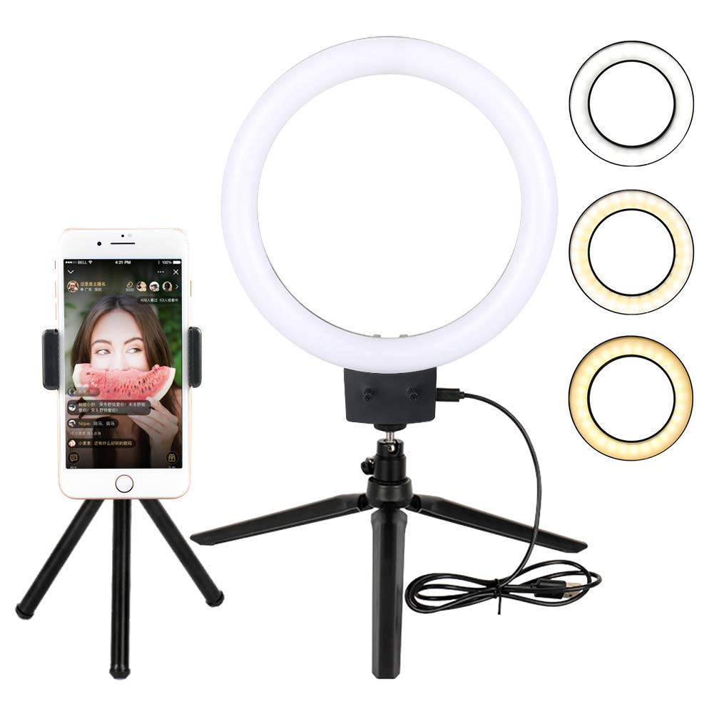 7'' Selfie LED Ring Light, Yatuela 80pcs 2800-5500K Brightness Dimmable Lamps 3 Modes for Phone Video Shooting Makeup YouTube, Kit with Tripod Light Stand, USB Cable, Cell Phone Holder (7-inch)