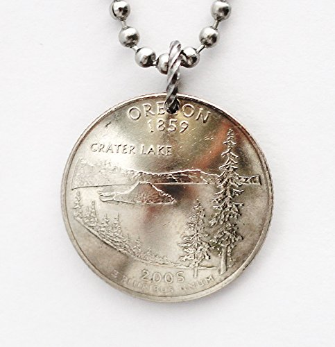 Oregon Domed Coin Necklace U.S. State Quarter Crater Lake Commemorative Pendant 2005