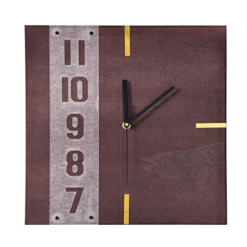 Square Wall Clock Large Size Modern DIY Arabic Numerals,Silent Non-Ticking Clock,Decor Wall Clock for Home Living Room Bedroom(Marron) - Clock Square Arabic