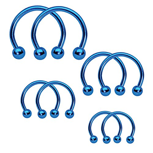 BodyJ4You 8PCS Circular Barbell Horseshoe Piercing Ring Set 16G Blue Surgical Steel Nose Tragus Nipple