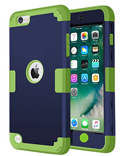 iPod Touch 6 Case,iPod Touch 5 Case, J.west [Pinky Series] 3-Piece Style Hybrid Hard Case Cover for Apple iPod touch 5 6th Generation (Navy Blue+Green)