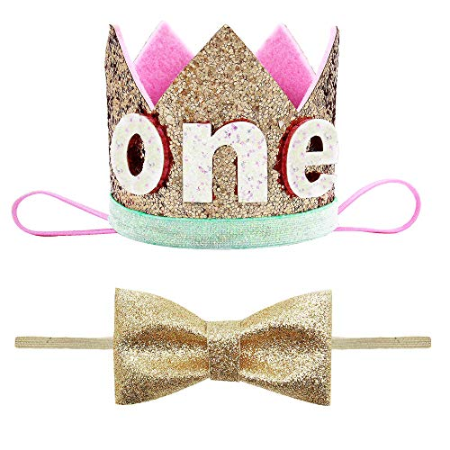 - JIMUKEE Baby Crown Bow Headband Boy Girl 1st Birthday Photo Props Glitter Princess Sparkly Tiara Gold A