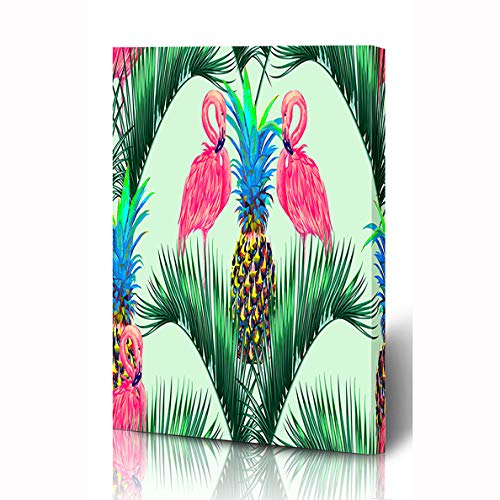 Ahawoso Canvas Prints Wall Art 12x16 Inches Intense Green Pineapple Pink Flamingos Exotic Birds Pattern Palm Leaves Tropicana Beach Leaf Design Wooden Frame Printing Home Living Room Office ()