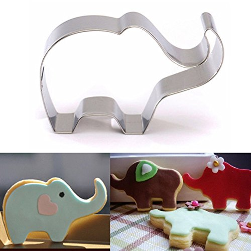 Aremazing Cookie Cutter Lovely Animal Shape Stainless Steel Biscuit Cutters Cake Fondant Cookie Cutter Mold for Baby Shower (Elephant)