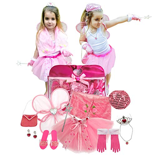 Toiijoy Girls Princess Dress up Set 15Pcs Fairy Princess Role Play Costume Set Carry Bag Toddler Kids Ages 3-6yrs -