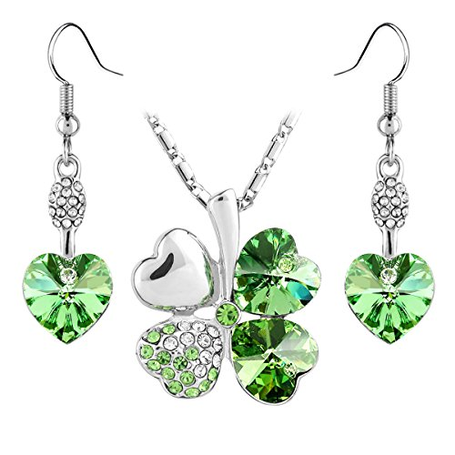 Jewelry Set Clover Pendant Necklace+Dangle Earring Heart Shaped SWAROVSKI Peridot Green Crystals