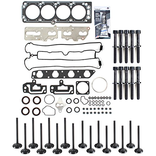 New CH8921HBSIVK Cylinder Head Gasket Set, Head Bolts Kit, Intake & Exhaust Engine Valves, RTV Gasket Silicone for 04-08 2.0L Chevrolet Optra/Suzuki Forenza Reno Engine Code A20DMS