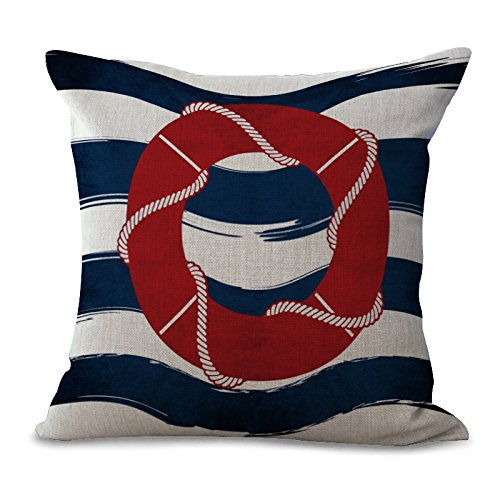 Miracle Dec Stripes Buoy Pattern Linen&Polyester Square Throw Pillow Covers Cushion Cases Textured (18