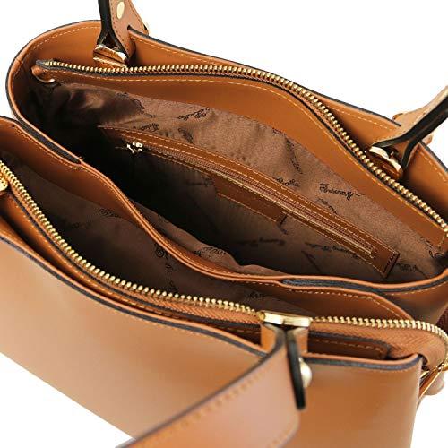en Main Cuir Leather Foncé Cognac à Anna Taupe TL141684 Tuscany Sac ZgTOXqgw