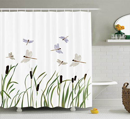 Dragonfly Green (Ambesonne Country Decor Collection, Flying Small Dragonflies over Tall Reeds Botanical Environmental Artisan Graphic Work, Polyester Fabric Bathroom Shower Curtain Set with Hooks, Purple Green)
