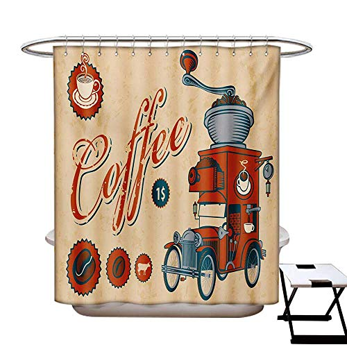 (BlountDecor Retro Shower Curtain Customized Artsy Commercial Design of Vintage Truck with Coffee Grinder Old Fashioned Bathroom Accessories W72 x L84 Cream Orange Grey)