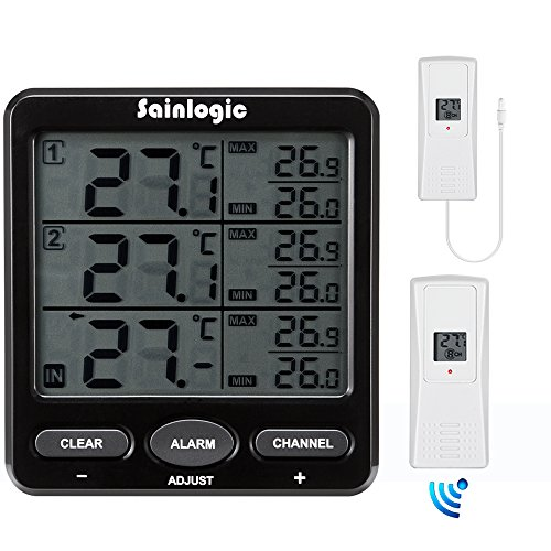 Sainlogic(R) Funk Thermometer Wetterstationen mit 2 Funksensoren LCD Display Min/Max Kabelsonde
