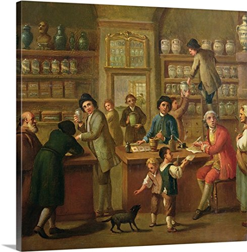 Italian School Gallery-Wrapped Canvas entitled Interior of a Pharmacy by greatBIGcanvas