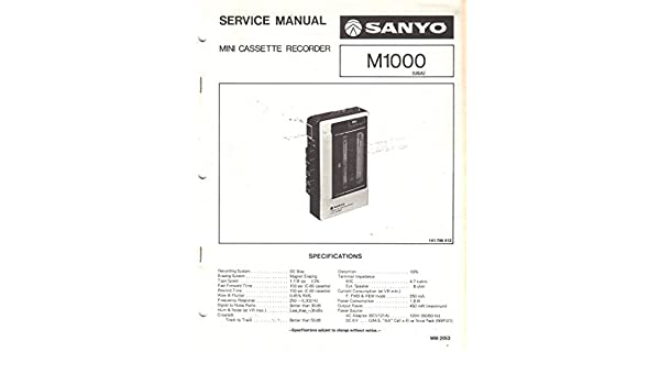sanyo m1000 mini cassette recorder service manual sanyo electric rh amazon com Ezgo Golf Cart Wiring Diagram Club Car Wiring Diagram