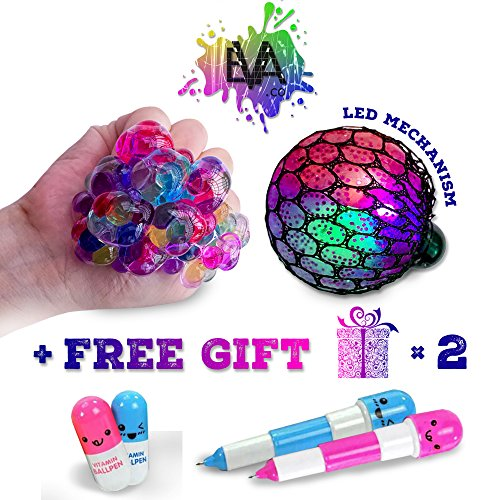 LED Anti-stress Squeeze Balls- Rubber Squeeze Balls with LED Functionality, Mesh Squeeze Balls For Pressure /Anxiety Relief, Autism & ADHD Fun Fidget Toy Balls, BONUS 2 FUNNY PENS (08 Battery Pack)