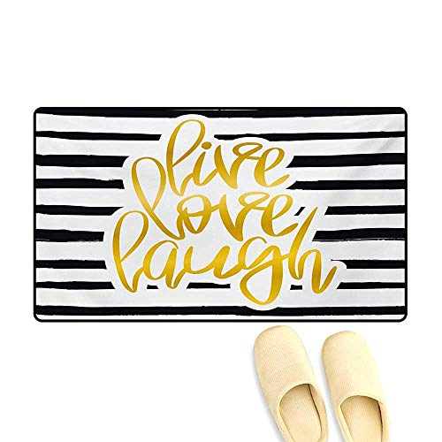 Bath Mat,Romantic Design with Hand Drawn Stripes and Calligraphic Text,Door Mats Area Rug,Black White Earth Yellow,24