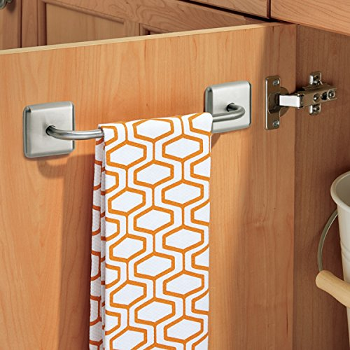 mDesign Kitchen Cabinet Self Adhesive Small Metal Wall Mount Towel Bar Holders for Hanging Dish Cloths, Dish Towels, Hand Towels - Removable, set of 2, Brushed Stainless Steel