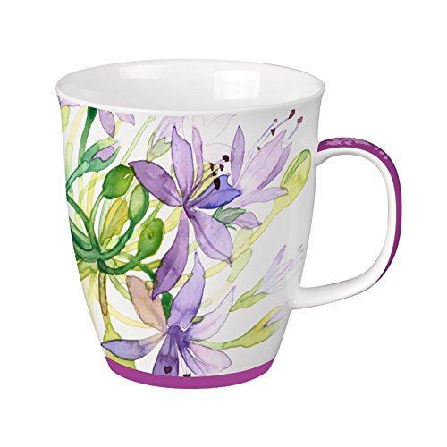China Porcelain Mug (SVIV Curve New Bone China Coffee or Tea Mug, 16oz (Purple Meadows))