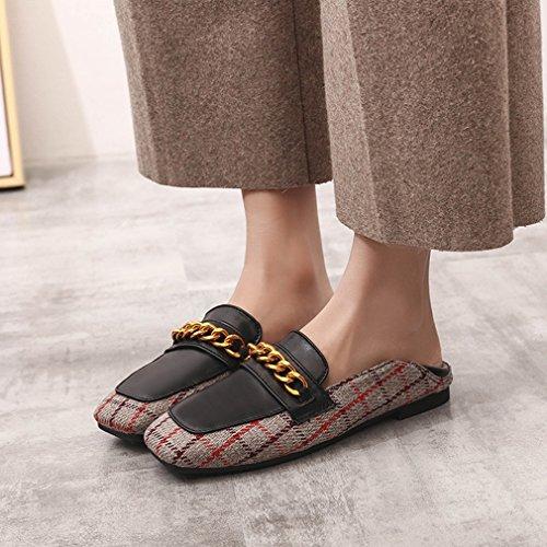 Giy Mocassins Classiques Penny Femmes Orteil Carré Slip-on Chaîne Métallique Robe Décontractée Mocassins Oxford Chaussures Plates Noir-marron