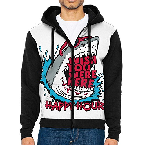 Men's Happy Hour Shark Funny Casual Pockets Sweatshirt Full Zip Hoodie Crew Hooded Shirts Athletic - Hours Towson