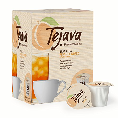 Tejava Unsweetened Black Tea Pods with Natural Peach Flavor, Award-Winning Tea, 100% Recyclable Single Serve Cups | Keurig K-Cup Compatible (24 Count) (Keurig Tea K Cups Peach)