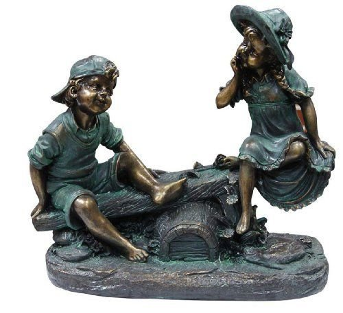 Alpine Girl and Boy Playing on Teeter Totter Statue ,,#id(royroy16 (Boy Playing Statue)