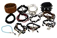 12 Assorted Wholesale Mens Womens PU Leather Beaded Bracelets