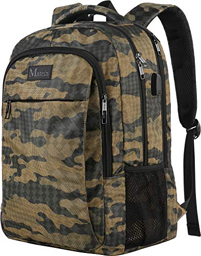 Camouflage Laptop Bag - Camo Backpack, Camouflage Outdoor Travel Laptop Backpack for Travel Accessories, Lightweight Durable School Bag with Charging Port Fashion Daypack for Men and Women Fit 15.6 Inch Laptop & Computer