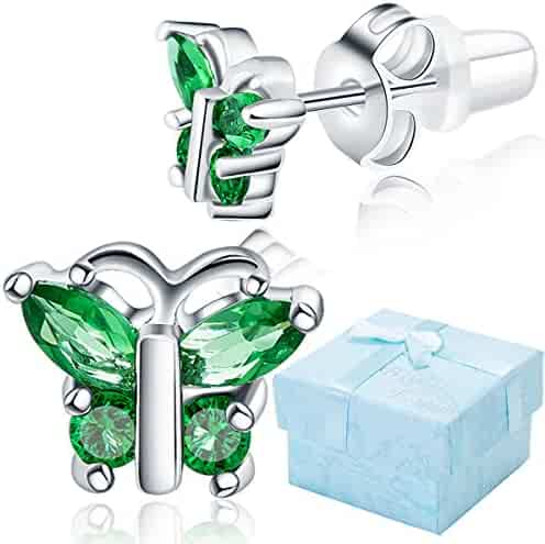 29c3d1998 Buyless Fashion Surgical Steel Rhodium Plated Butterfly Shape Cubic  Zirconia Birthstone Earrings