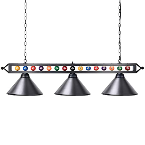 Superbe Pool Table Light, Wellmet 59 Inch Billiard Lights With Billiards Ball, 3  Light